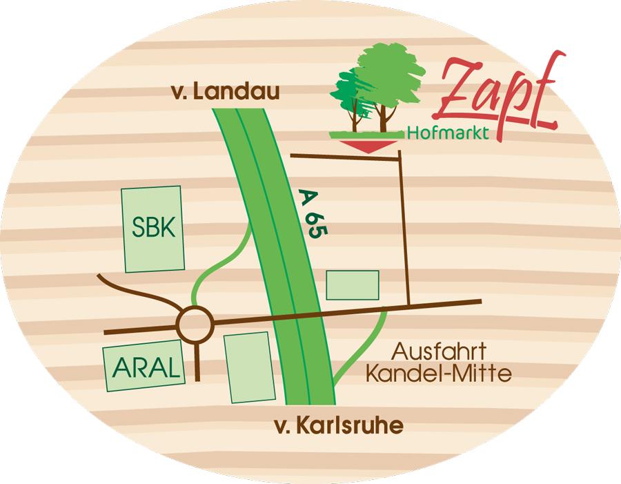 Hofmarkt Zapf Kandel Anfahrtskizze