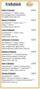 Hofmarkt Zapf Cafe | Frühstückskarte Seite 01