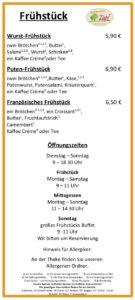 Hofmarkt Zapf Cafe | Frühstückskarte Seite 02